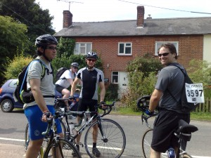 Simon, Ben and Martin at the rest stop, Hadham Ford(?)